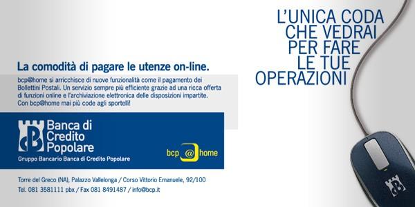 Progettazione campagna istituzionale per i servizi di home banking per Banca di Credito Popolare