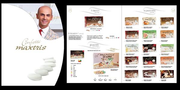 Progettazione grafica del catalogo prodotti di Confetti Maxtris