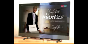 Spot pubblicitario confetti maxtris con Enzo Miccio